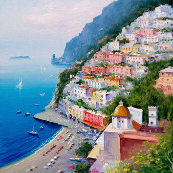 "Italian painting seascape Amalfitan Coast ""Positano n1"" original oil canvas of Giuseppe Iannicella Italy"