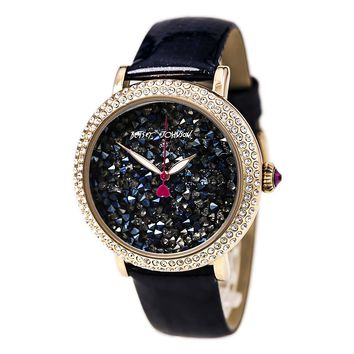 Betsey Johnson BJ00426-05 Women's Crystal Blue Dial Navy Blue Leather Strap Watch