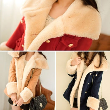 Fashion Korean Style Lady Women Slim Double Breasted Autumn&Winter Warm Flannel Slim Coat Jacket(Asia size M/L/XL) = 1929831748