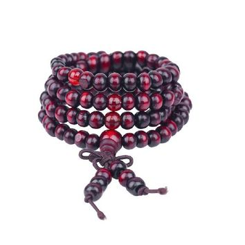Meditation 108 beads Wood Prayer Bead Mala Bracelet Women Men