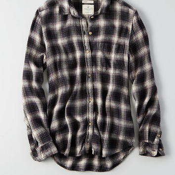 AEO Ahh-mazingly Soft Plaid Shirt , Black
