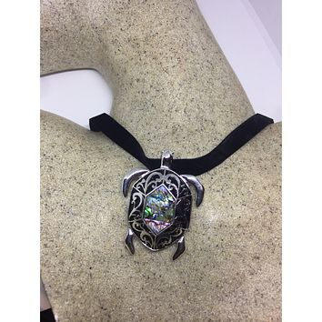 Blue Handmade Gothic Styled Silver Finished Genuine Abalone Sea Turtle Choker Necklace