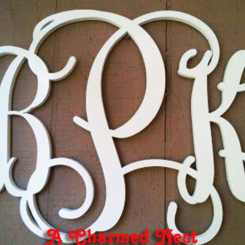 20 inch Wooden Monogram Letters. Great for weddings, birthdays, gifts, nursery and home decor