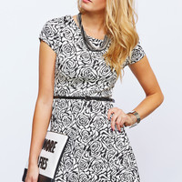 0530-49042490 Floral Skater Dress With Belt