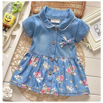 DreamShining Spring Baby Girl Dress Denim Floral Bow Children Clothing Kids Clothes Short Sleeve Infant Baby Girl Princess Dress