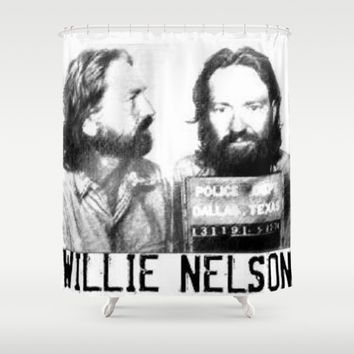 Willie Nelson Mug Shot Shower Curtain by Neon Monsters