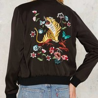 Nasty Gal Tiger Up Satin Bomber