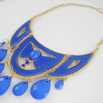 Statement  Necklace  Royal Marine Blue Chest Plate Chandelier Beaded Collar Bib Statement NECKLACE - Royal Blue