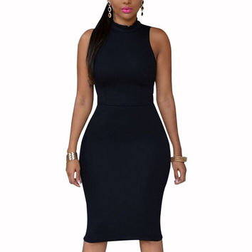 Fashion Lady Sleeveless Bodycon Bandage Dress Elastic Party Night Club Wear Dress XL SM6