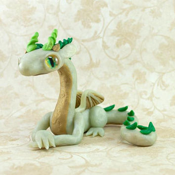 Light Green Dragon Figurine, Dragon Figure, Dragon Figurine, Dragon Sculpture, Green Dragon, Magical Creature, OOAK Dragon Figure, Fantasy