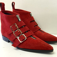3 Buckle Winklepicker Boots in Red Suede