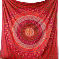 RED Floral Mandala Wall Tapestry Fabric Hippie Boho Bed Bedspread Throw  Wall hanging Ethnic Home Decor Art