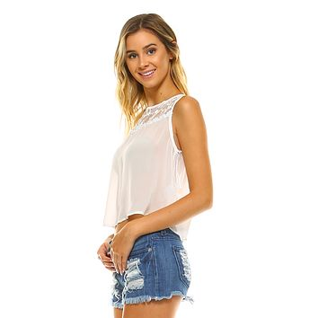 Women's Crop Sheer Lace Tank Top