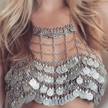 Hyperbolic fashion individuality body chain metal heavy industry multi-layer coin tassel chain.