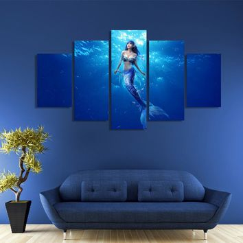 "Deep sea mermaid 5 panel panel Kids Room wall art on canvas 44"" wide installed"