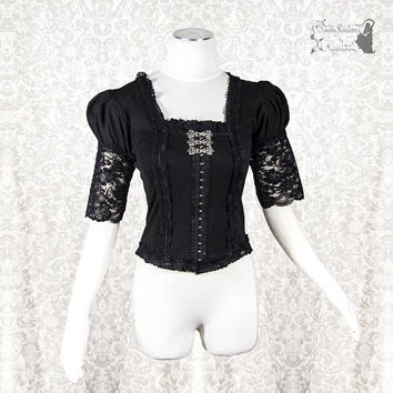 Blouse Victorian, Steampunk, romantic goth shirt, black, Devota, Somnia Romantica, approx size small see item details for measurements