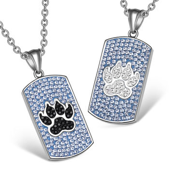 Wolf Paw Austrian Crystal Love Couples or Best Friends Dog Tag Sky Blue Black White Charm Necklaces