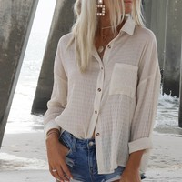 Platinum Coast Cream Button Down Top