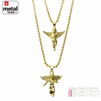 "Jewelry Kay style Men's 14K Gold Plated Double Angel 22"" & 27"" Combo Pendant Necklace MHC 203 G"