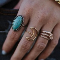 Open Crescent Moon Ring - Gold