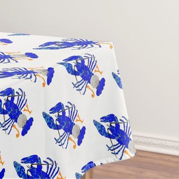 "Coastal Blue Lobster ""Joy"" Sand Dollar Tablecloth"