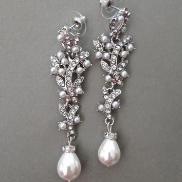 Long Bridal Chandelier Earrings Pearl Wedding Rhinestone Jewelry Ivory Drop Pearl Earrings