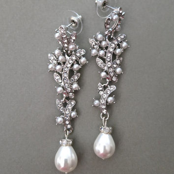 Long Bridal Chandelier Earrings Pearl Wedding Rhinestone Jewelry Ivory Drop