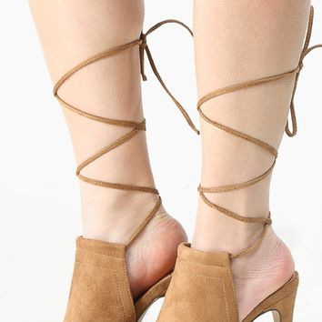 Lace Up Peep Toe Backless Mule Heels