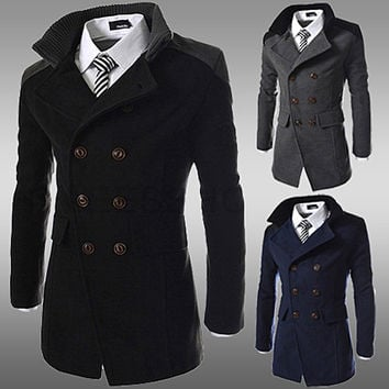 Double Breasted Men's Fashion Coat With Knitted Collar