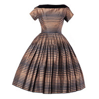 Suzy Perette Vintage 1950's Silk Two Tone Striped Party Dress