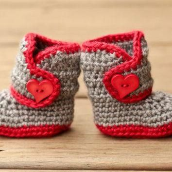 CUPUPS Crochet Baby Booties - Baby Boots - Grey and Red with Heart Button - Valentine's Love