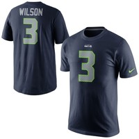 Mens Seattle Seahawks Russell Wilson Nike College Navy Player Pride Name & Number T-Shirt