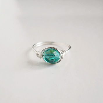 Teal Green Ring - unique ring - cute ring