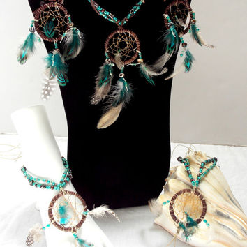 Dream Catcher Jewelry Set Sterling Silver Feather Jewelry Fantasy Earrings, Necklace, Barefoot Sandals
