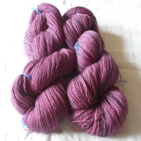 "Phat Fiber April ""How My Garden Grows"" -  Merino Lace Weight Yarn -  Handdyed Black Tulip"