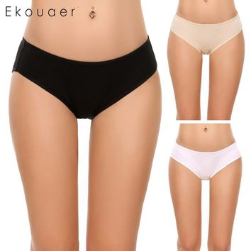 Ekouaer Women 3 Pack 3 Colors Cotton Underwear Hipster Briefs Underwear Assorted  Comfortable Panties Solid Colors
