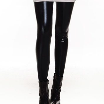 Black Shiny Metal Leggings