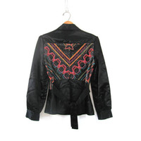 1970s black jacket with metallic fabric and embroidery / glam coat / size S-M