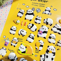 cute cartoon puffy panda deco sticker for daily life decor,envelope phone card label planner korean style sticker,birthday Christmas gift