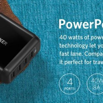 Anker 40W 4-Port USB Wall Charger, PowerPort 4 for iPhone 7 / 6s / Plus, iPad Pro / Air 2 / mini, Galaxy S7 / S6 / Edge / Plus, Note 5 / 4, LG, Nexus, HTC and More