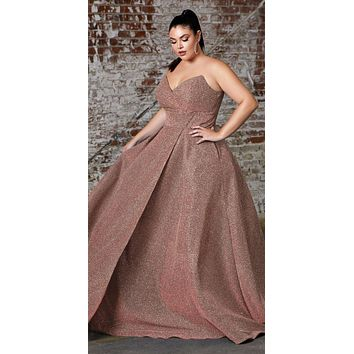 Long Strapless Ball Gown Rose Gold Glitter Finish Lace Up Corset Back