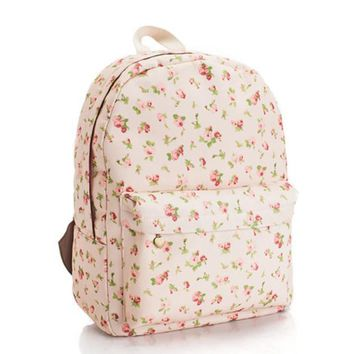 Day-First™ Sweet Floral Printed Canvas Lightweight College Backpack