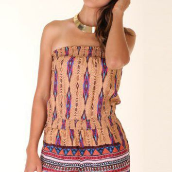 MOCHA AZTEC PRINT TUBE TOP ROMPER @ KiwiLook fashion