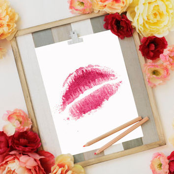 "Printable Art ""Abstract Lips"" Lips Art Lips Prints Modern Art Gallery Wall Prints Dorm Art Abstract Art Lips Decor Lips Print Dorm Decor"