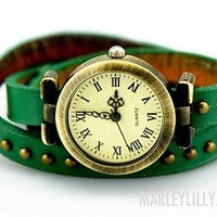 Dark Green Leather Wrap Around Watch