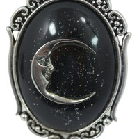 Midnight crescent moon Witch Ring