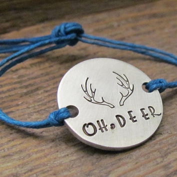 Oh Deer Friendship Bracelet Personalized Hand Stamped ONE Tie On Hemp Cord ROUND Besties Friends BFF Handstamped Couples Jewelry