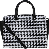 Michael Kors Selma Large Top Zip Satchel in Black & White Houndstooth Print Leather