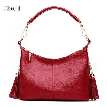 Chu JJ Women's Genuine Leather Handbags Cow Leather Tassel Shoulder CrossBody Bag Messenger Bags Hobos Women Bags Ladies