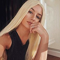 """Morvally 613# Blonde 24"""" Long Straight Lace Front Wigs Natural Looking Heat Resistant Synthetic Hair Half Hand Tied Glueless Wig for Daily Wear"""